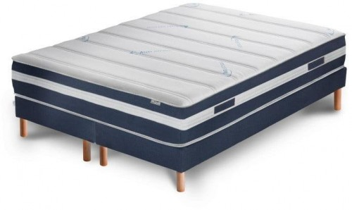 Tmavomodrá posteľ s matracom a dvojitým boxspringom Stella Cadente Maison Venus Europe, 140 × 200 cm