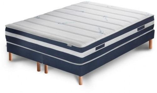 Tmavomodrá posteľ s matracom a dvojitým boxspringom Stella Cadente Maison Venus Europe, 180 × 200 cm