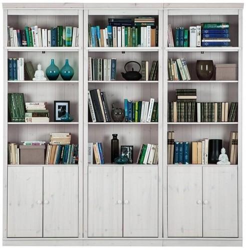 Biela knižnica z borovicového masívu Støraa Annabelle, šírka 219cm