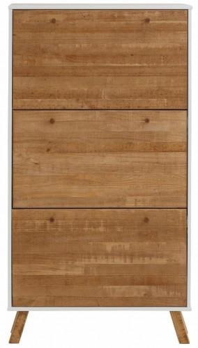 Skrinka na topánky z masívneho borovicového dreva s 3 výklopmi a bielymi detailmi Støraa Rafael