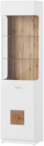 Biela vitrína s pántmi na pravej strane Szynaka Meble Wood