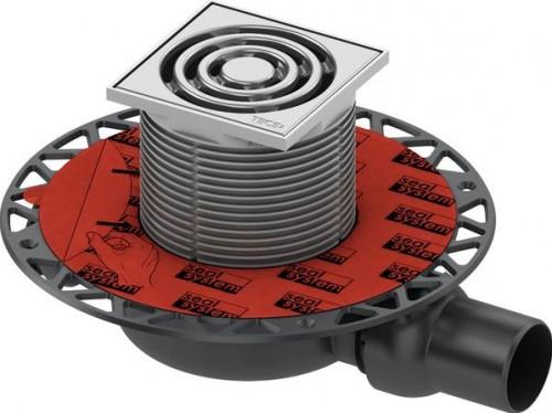 TECEdrainpoint S- podlahová vpusť znížená s univerzálnou prírubou a nerezovou mriežkou, 3601100