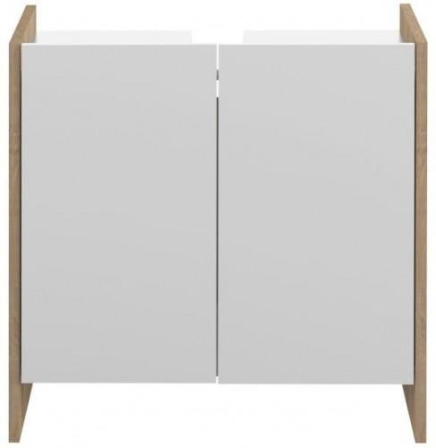 Biela kúpeľňová skrinka s hnedým korpusom TemaHome Biarritz, výška 59,2cm