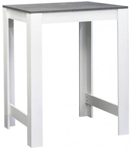 Biely barový stôl s doskou v dekore betónu TemaHome Sulens, šírka 70 cm