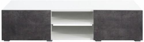 Biely TV stolík s dvierkami v dekore betónu Symbiosis Podium