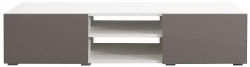 Biely TV stolík so sivobéžovými dvierkami Symbiosis Podium