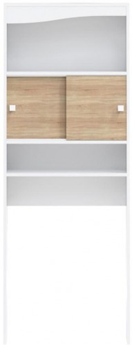 Biely úložný systém s policami a dvierkami v dekore dubového dreva nad práčku TemaHome Wave