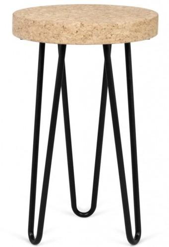 Čierny príručný stolík z doskou z korku TemaHome Drum
