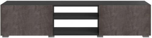 Čierny TV stolík s doskou v dekore betónu Symbiosis Podium