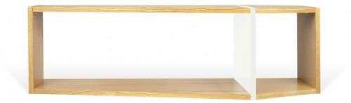 Hnedo-biela polica TemaHome One, 120 × 35 cm