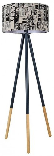TEMPO KONDELA Cinda Typ 6 YF6253 stojacia lampa čierna / vzor dreva / novinová potlač