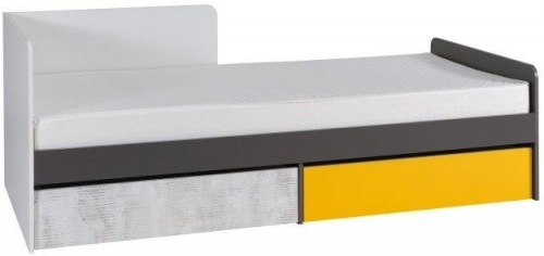 TEMPO KONDELA Matel B7 90 jednolôžková posteľ s roštom biela / sivý grafit / enigma / žltá