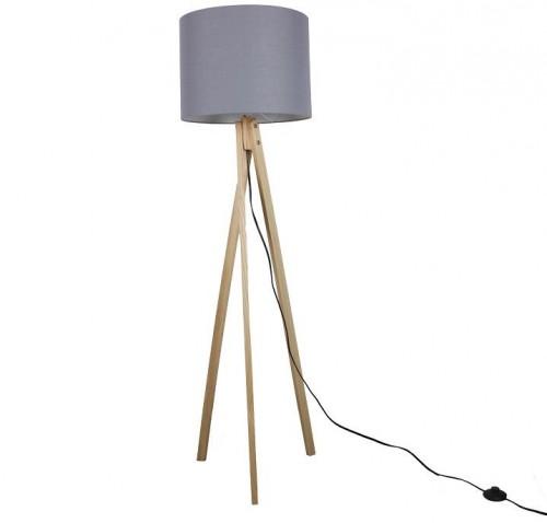 Tempo Kondela, Stojacia lampa, LILA Typ 7, sivá/prírodné drevo
