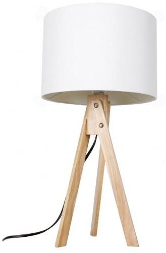 Tempo Kondela, Stolná lampa, biela/prírodné drevo, LILA Typ 1 LS2002