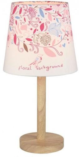 Tempo Kondela, Stolná lampa, drevo/látka, vzor kvety, QENNY TYP 8 LT6026
