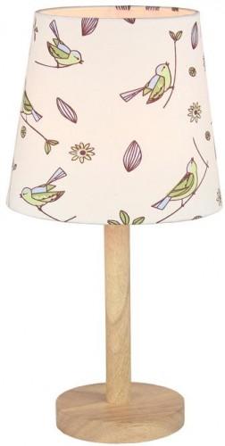 Tempo Kondela, Stolná lampa, drevo/látka vzor vtáci, QENNY TYP 7 LT6026