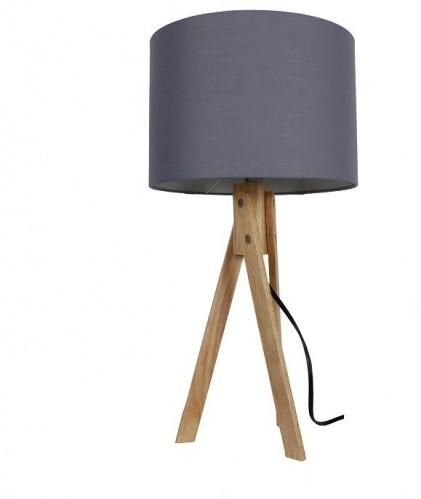Tempo Kondela, Stolná lampa, sivá/prírodné drevo, LILA Typ 2 LS2002