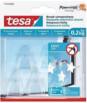 Tesa Samolepicí průhledný dekorační háček na sklo 0.2kg