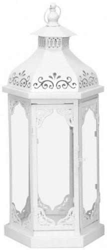 Kovová lucerna Vintage white L