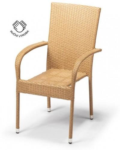 Záhradná ratanová stolička Timpana Frenchie v cappuccino hnedej farbe, výška 95 cm