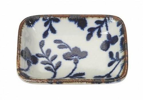Modro-biely obdĺžnikový tanierik Tokyo Design Studio Fleur de Ligne, 9,5×7 cm
