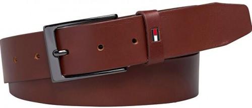 Tommy Hilfiger Pánsky kožený opasok Layton Adjustable 3.5 Dark Tan 110 cm