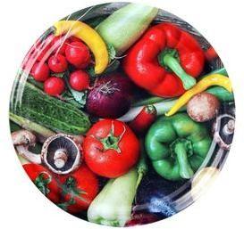 TORO Viečko na zaváracie poháre 10 ks, 82 mm, motív zelenina