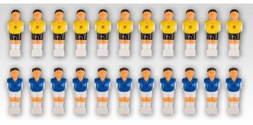 OEM Náhradné figúrky na stolný futbal žltá modrá 22 ks