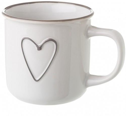 Biely keramický hrnček Unimasa Heart, 325 ml