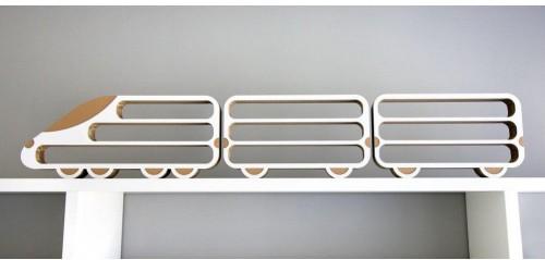 Set 3 poličiek Unlimited Design for kids Lokomotíva a 2 vagónov
