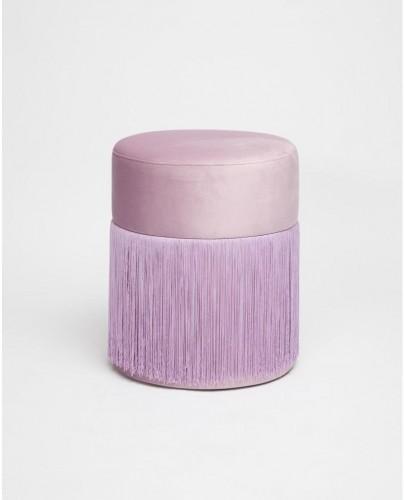 Svetlofialový puf so zamatovým poťahom Velvet Atelier, Ø36cm