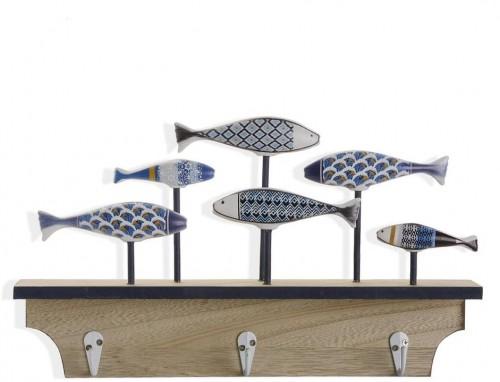 Nástenný vešiak s 3 háčikmi Versa Blue Bay