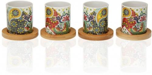 Sada 4 porcelánových šálok s bambusovými podšálkami Versa Giardino