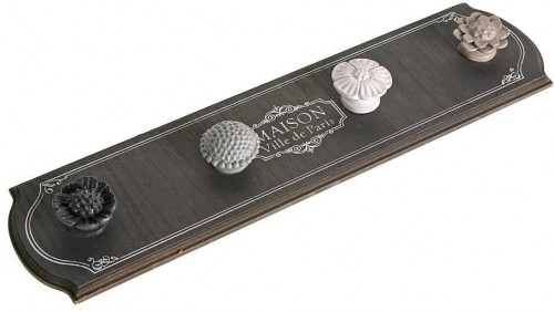 Sivý nástenný vešiak so 4 háčikmi Versa Gray Coat Rack