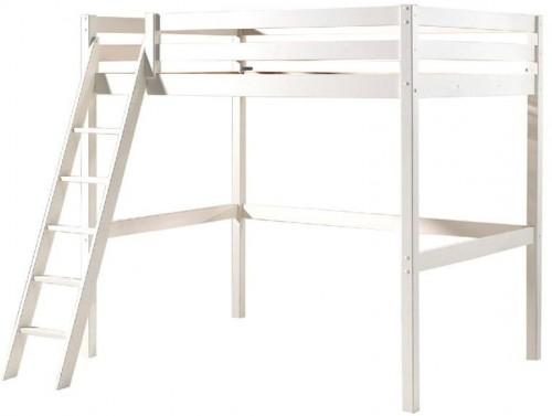 Biela detská posteľ s rebríkom Vipack Pino, 140×200 cm