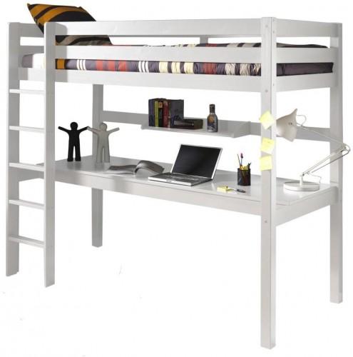 Biela poschodová posteľ s pracovným stolom Vipack Pino, 200×105 cm