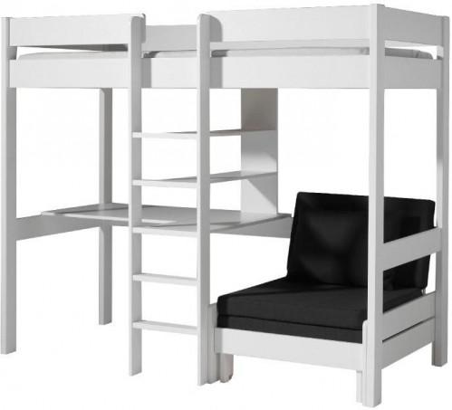 Biela posteľ s priestorom na stolík a kreslo Vipack Highsleeper