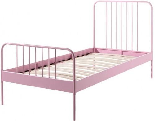 Ružová kovová detská posteľ Vipack Jack, 90×200 cm
