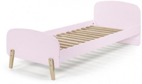 Ružový rám detskej postele z masívneho borovicového dreva Vipack Kiddy, 200×90 cm