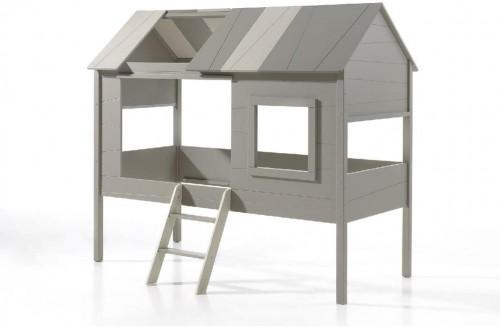 Sivá detská domčeková posteľ Vipack Charlotte