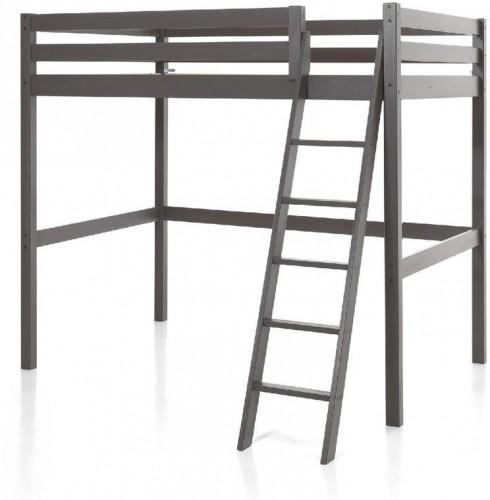 Sivá detská posteľ s rebríkom Vipack Pino, 140×200 cm