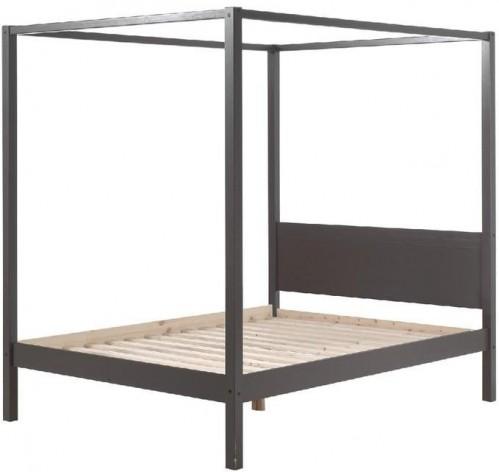 Sivá detská posteľ Vipack Pino Canopy, 140×200 cm