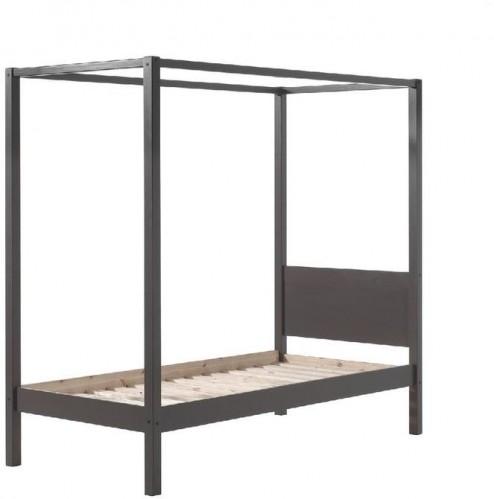 Sivá detská posteľ Vipack Pino Canopy, 90×200 cm