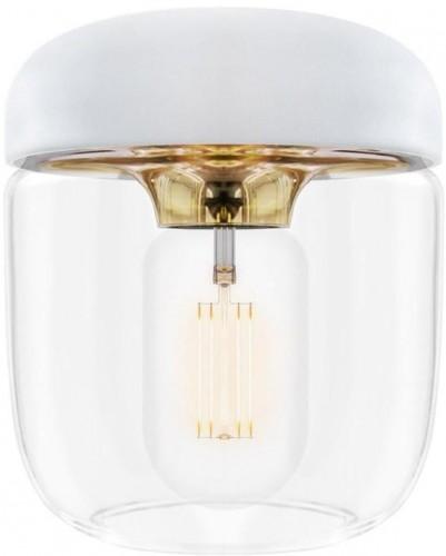 Biele závesné tienidlo s objímkou zlatej farby VITA Copenhagen Acorn, Ø 14 cm