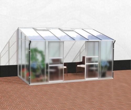 skleník VITAVIA IDA 7800 matné sklo 4 mm + PC 6 mm strieborný
