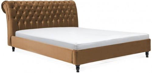 Hnedá posteľ z bukového dreva s čiernymi nohami Vivonita Allon, 180×200cm