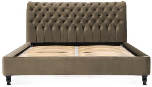Hnedosivá posteľ z bukového dreva s čiernymi nohami Vivonita Allon, 180 × 200 cm