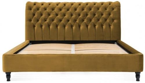 Horčicovohnedá posteľ z bukového dreva s čiernymi nohami Vivonita Allon, 140 × 200 cm