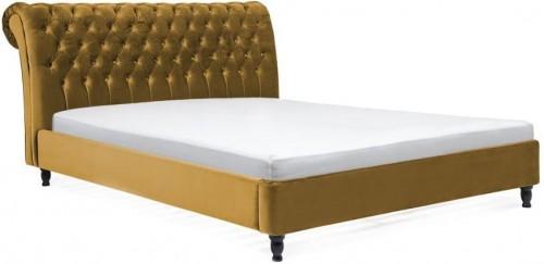 Horčicovohnedá posteľ z bukového dreva s čiernymi nohami Vivonita Allon, 180×200cm