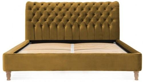 Horčicovohnedá posteľ z bukového dreva Vivonita Allon, 140 × 200 cm
